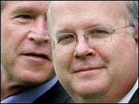 Karl Rove with President George W Bush - archive picture