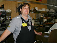 Sherryl who works in a cafe in Mobile, Alabama