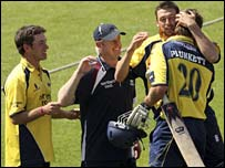 Liam Plunkett (right) is congratulated after winning the semi-final for Durham