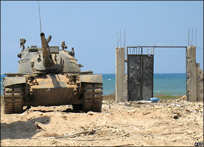Lebanese tank on patrol