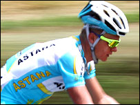 Alexandre Vinokourov in action during the Tour de France