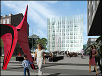 An artists impression of the new library