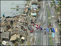 Flood affected villagers occupy railway tracks in Begusarai district, Bihar