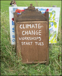 Sign at climate change camp