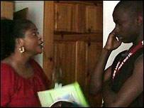 Bim shouts at Abiola about his homework