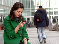 Woman watching mobile TV