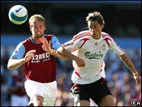 Action from Aston Villa v Liverpool game in the Premiership