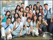 El grupo de surcoreanos cristianos secuestrados, antes de partir hacia Afganistán
