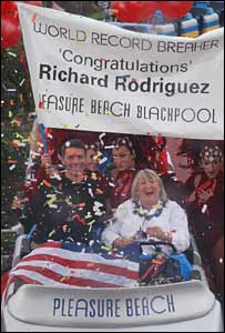 Richard Rodriguez celebrates his record