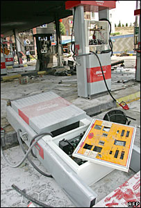 Damaged petrol stations in Tehran (file)