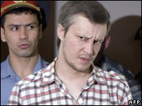 Alexander Pichushkin entering a Moscow courtroom