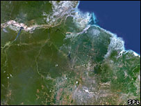 View showing deforestation in Amazon rainforest in Brazil