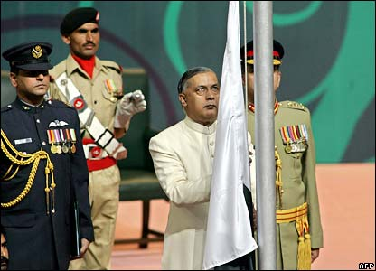 Prime Minister Shaukat Aziz raises national flag to begin celebrations