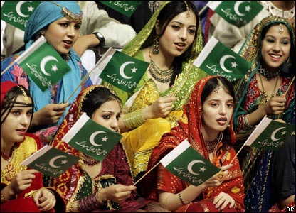 Pakistani women at flag-raising ceremony in Islamabad