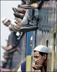 Bangladeshi man in a train