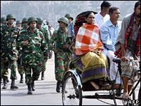 Soldiers patrolling a street in Dhaka, Bangladesh