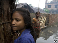 Bangladeshi girl in a flood affected area