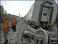 Derailed train near Malaya Vishera, Russia