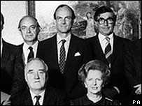 Lord Biffen (left, back row) in Margaret Thatcher's 1983 Cabinet