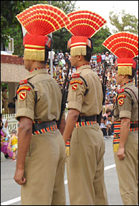 Indian border guards at Wagah crossing