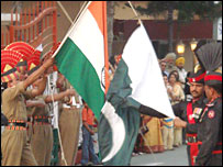 Indian and Pakistani border guards at Wagah crossing