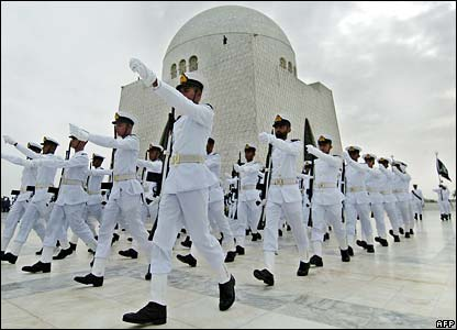 Naval cadets march past the mausoleum of Mohammed Ali Jinnah in Karachi
