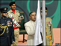 Pakistani Prime Minister  Shaukat Aziz  at flag ceremony in Islamabad