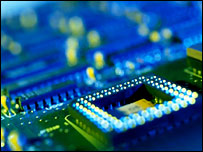 Chips on computer circuit board