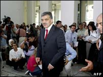 Abdullah Gul as news conference after meeting with nationalist party leader