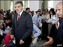 Abdullah Gul arrives at news conference in Ankara 14 August 2007