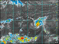 The position of Hurricane Flossie is shown on this image (Image provided by NOAA)
