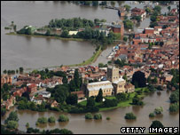 An aerial view of a heavily-flooded Tewkesbury