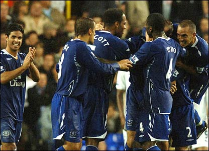 Everton celebrate their third goal