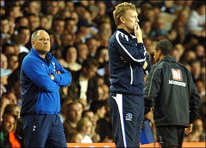 Spurs manager Martin Jol and Everton boss David Moyes