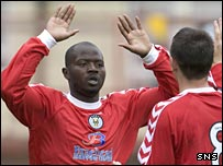 Tcham N'Toya celebrates his goal for St Mirren's reserves