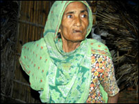 A widow whose home was destroyed in the floods in Bihar, northern India