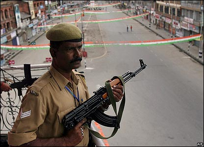 Indian central reserve police force soldier in Srinagar