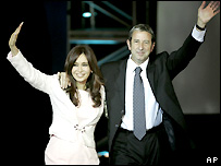 Cristina Fernandez de Kirchner (L) and Julio Cobos - 14/08/2007