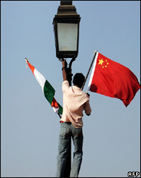 Flags of India and China in the Indian capital, Delhi