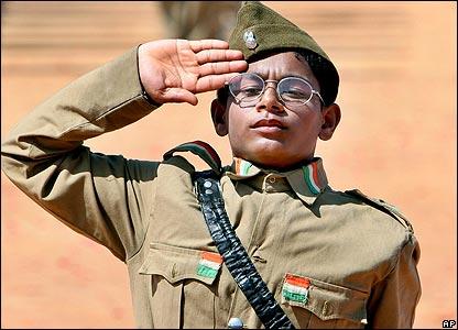 Indian boy salutes