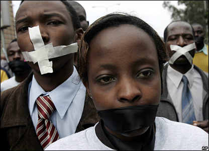 Kenyan journalists take to the streets in a silent demonstration against a controversial new Media Bill