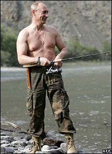 Russian President Vladimir Putin fishes on the Khemchik River near the Western Sayan Mountains in the Republic of Tuva