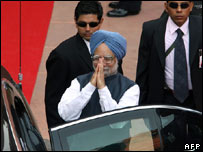 Indian PM Manmohan Singh at Delhi's Red Fort ceremony