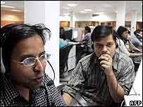 Workers in an Indian call centre