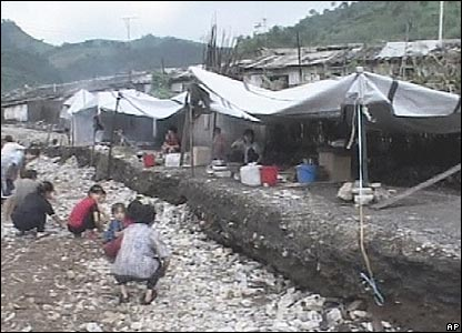 North Koreans take shelter following heavy flooding, August 2007
