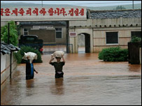Flooded road in North Korea ( image courtesy of WFP)