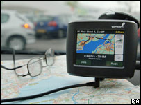 Satellite navigation system in a car