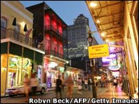 Bourbon Street in New Orleans' French Quarter one year after hurricane Katrina