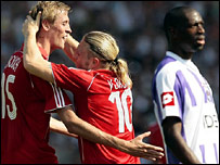Andriy Voronin celebrates his winner for Liverpool against Toulouse in their first leg, third round Champions League qualifier