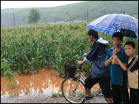 Young North Korean men look at a flooded field (image: WFP)